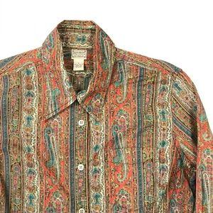 🎩 VTG Lucky Brand Button Boho Paisley Shirt Small